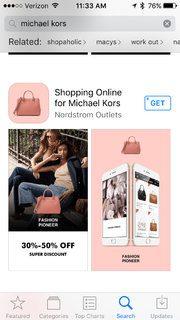 Ứng dụng giả mạo cửa hàng của Michael Kors.