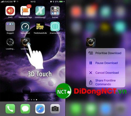 tải ứng dụng với 3d touch